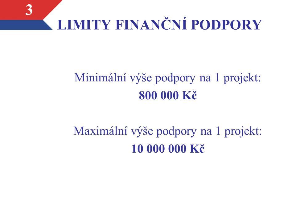 LIMITY FINANČNÍ PODPORY Minimální výše podpory na 1 projekt: 800 000 Kč Maximální výše podpory na 1 projekt: 10 000 000 Kč 3