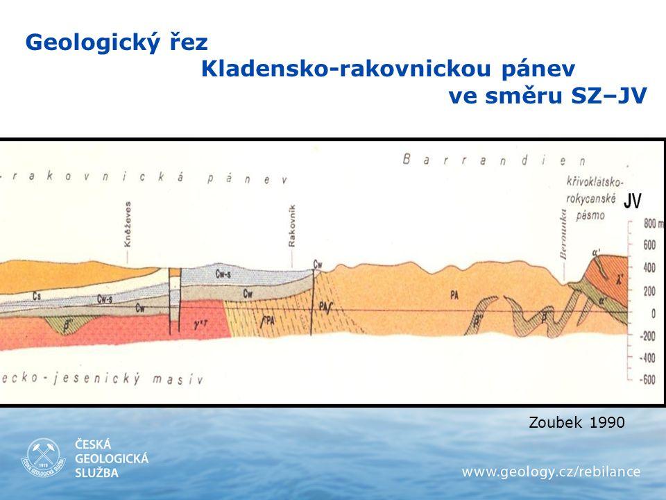 Zoubek 1990 Geologický řez Kladensko-rakovnickou pánev ve směru SZ–JV