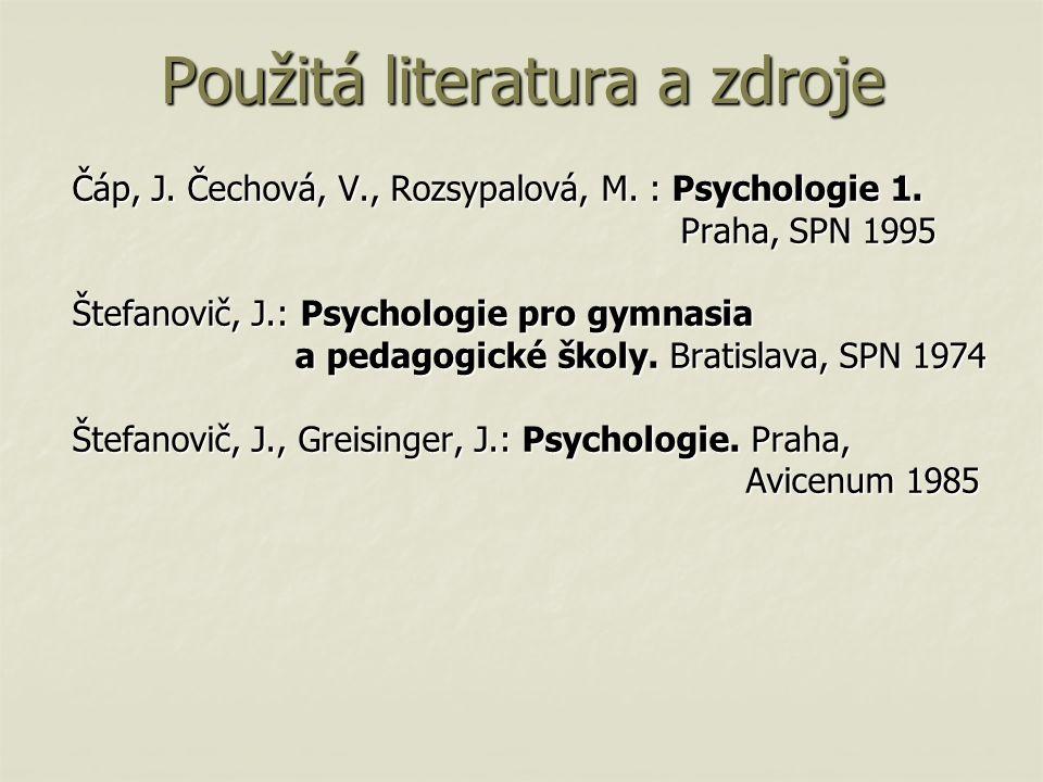 Čáp, J. Čechová, V., Rozsypalová, M. : Psychologie 1. Praha, SPN 1995 Praha, SPN 1995 Štefanovič, J.: Psychologie pro gymnasia a pedagogické školy. Br