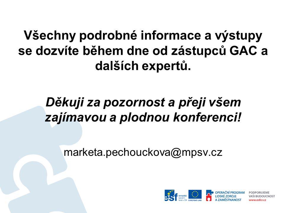 Všechny podrobné informace a výstupy se dozvíte během dne od zástupců GAC a dalších expertů.