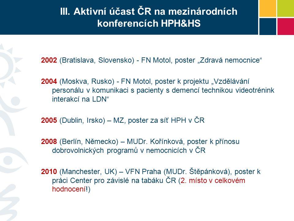 """III. Aktivní účast ČR na mezinárodních konferencích HPH&HS 2002 (Bratislava, Slovensko) - FN Motol, poster """"Zdravá nemocnice"""" 2004 (Moskva, Rusko) - F"""