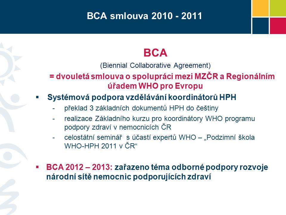 """BCA smlouva 2010 - 2011 BCA (Biennial Collaborative Agreement) = dvouletá smlouva o spolupráci mezi MZČR a Regionálním úřadem WHO pro Evropu  Systémová podpora vzdělávání koordinátorů HPH -překlad 3 základních dokumentů HPH do češtiny -realizace Základního kurzu pro koordinátory WHO programu podpory zdraví v nemocnicích ČR -celostátní seminář s účastí expertů WHO – """"Podzimní škola WHO-HPH 2011 v ČR  BCA 2012 – 2013: zařazeno téma odborné podpory rozvoje národní sítě nemocnic podporujících zdraví"""