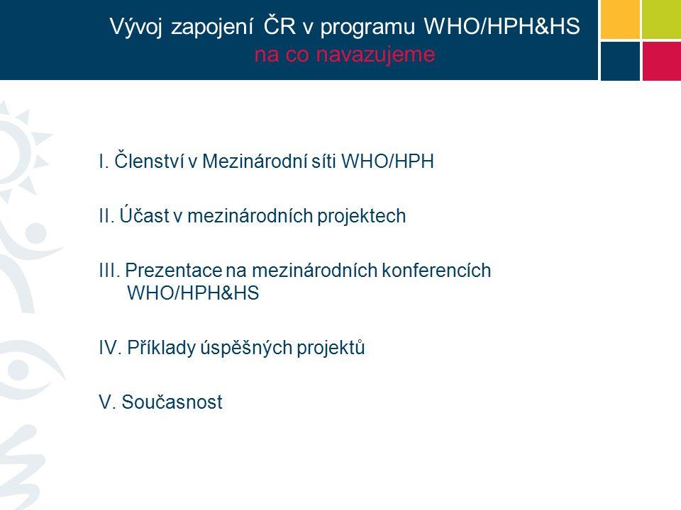 Vývoj zapojení ČR v programu WHO/HPH&HS na co navazujeme I.