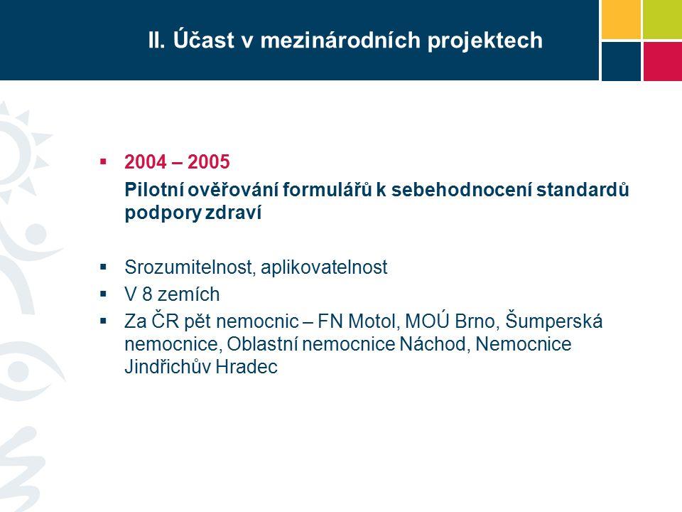 Standardy podpory zdraví I.Zásady řízení programu podpory zdraví v ZZ II.