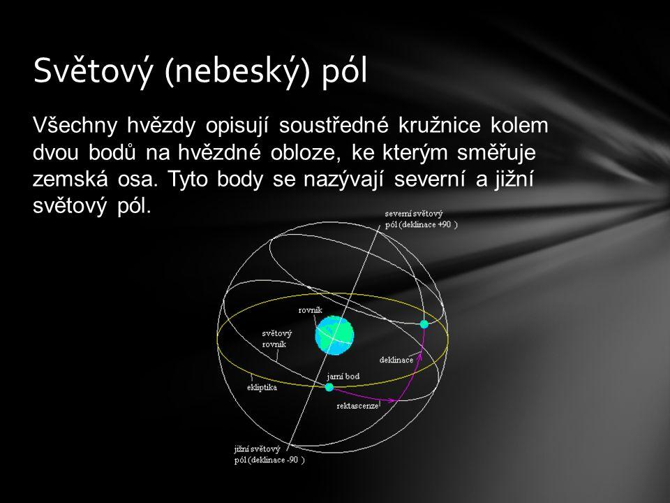 Všechny hvězdy opisují soustředné kružnice kolem dvou bodů na hvězdné obloze, ke kterým směřuje zemská osa.