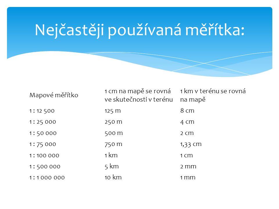 Mapové měřítko 1 cm na mapě se rovná ve skutečnosti v terénu 1 km v terénu se rovná na mapě 1 : 12 500125 m8 cm 1 : 25 000250 m4 cm 1 : 50 000500 m2 cm 1 : 75 000750 m1,33 cm 1 : 100 0001 km1 cm 1 : 500 0005 km2 mm 1 : 1 000 00010 km1 mm Nejčastěji používaná měřítka: