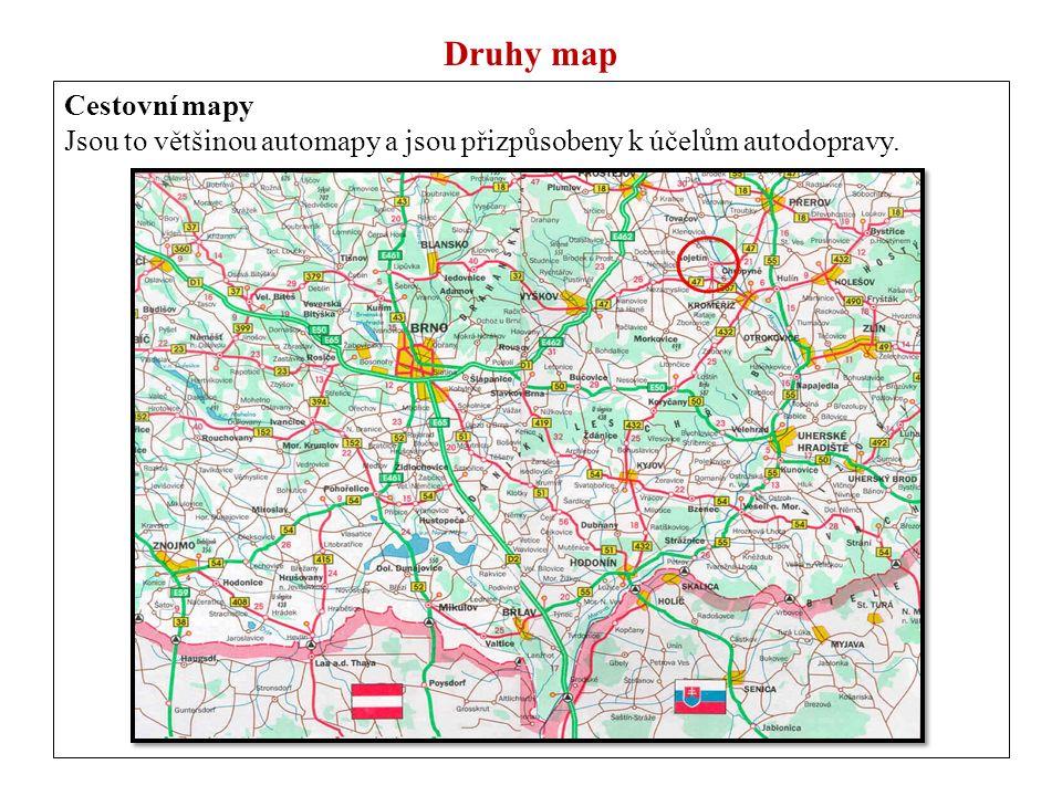 Druhy map Cestovní mapy Jsou to většinou automapy a jsou přizpůsobeny k účelům autodopravy.