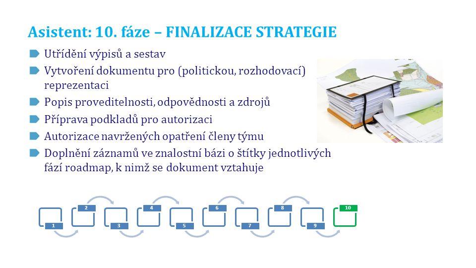 Asistent: 10. fáze – FINALIZACE STRATEGIE Utřídění výpisů a sestav Vytvoření dokumentu pro (politickou, rozhodovací) reprezentaci Popis proveditelnost