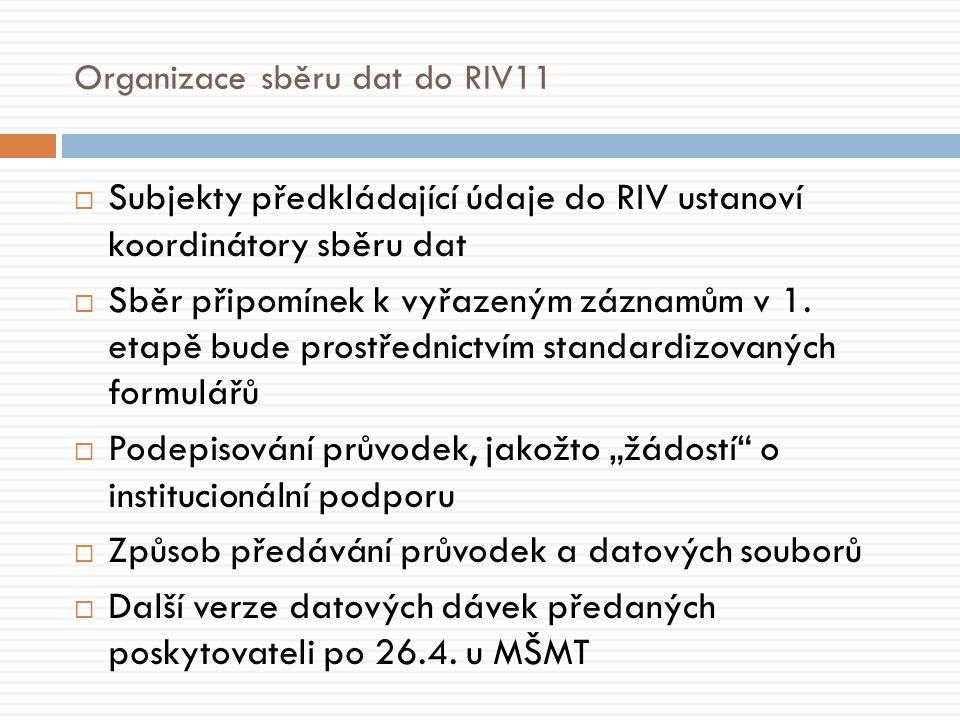 Organizace sběru dat do RIV11  Subjekty předkládající údaje do RIV ustanoví koordinátory sběru dat  Sběr připomínek k vyřazeným záznamům v 1.