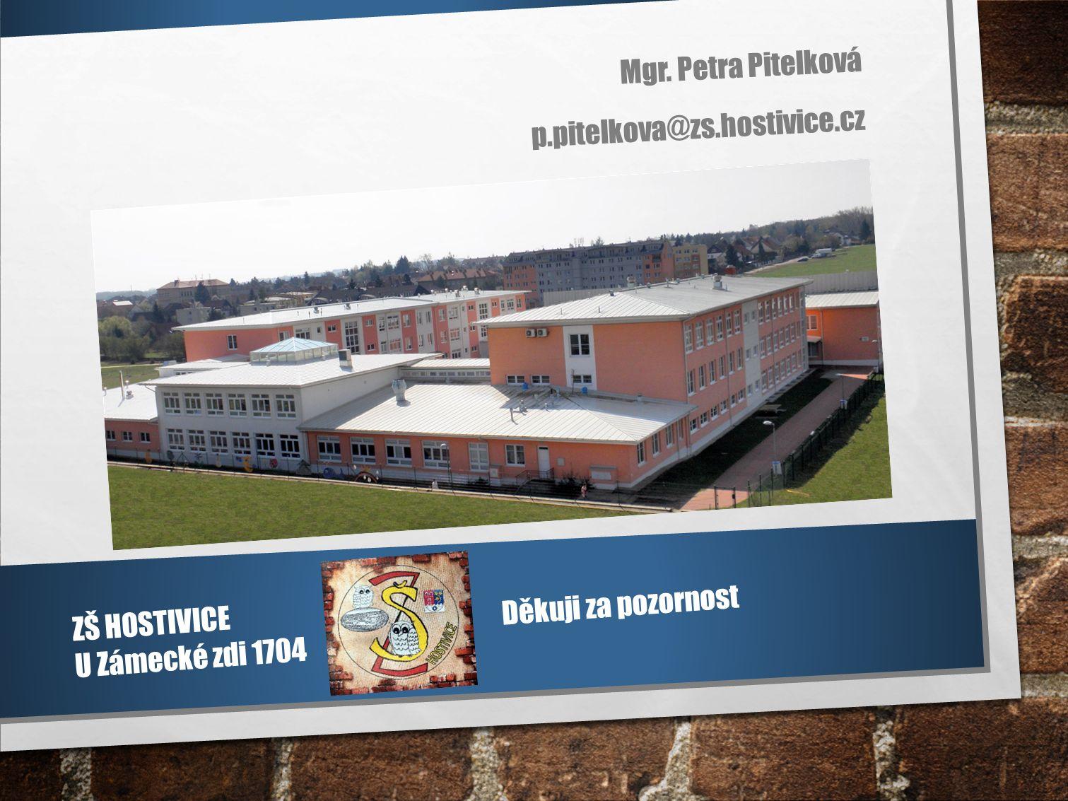 Mgr. Petra Pitelková p.pitelkova@zs.hostivice.cz ZŠ HOSTIVICE U Zámecké zdi 1704 Děkuji za pozornost