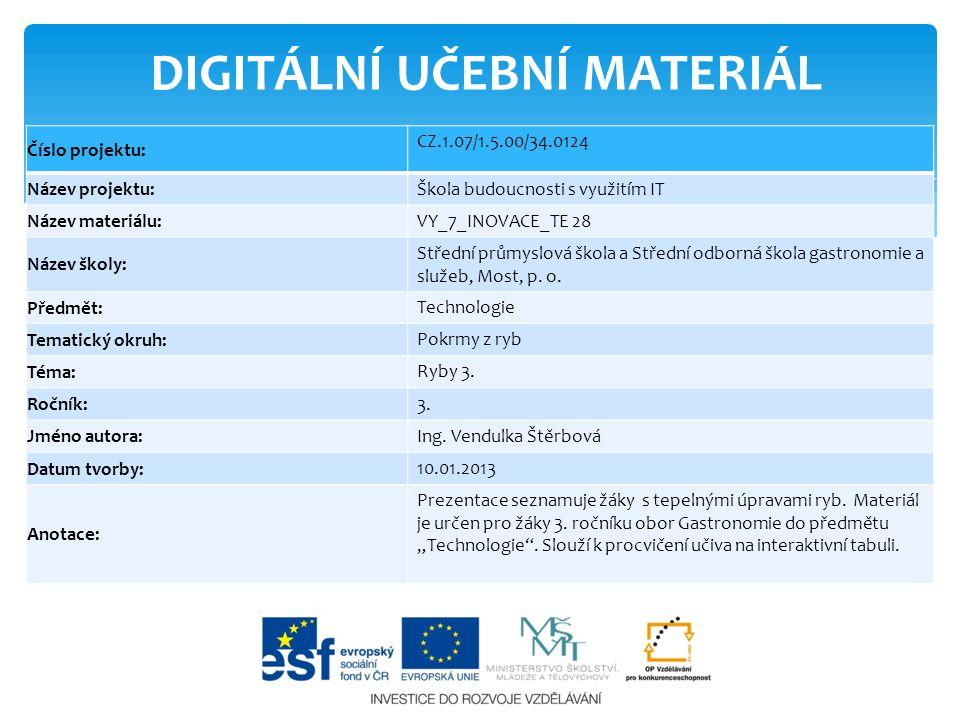 DIGITÁLNÍ UČEBNÍ MATERIÁL Číslo projektu: CZ.1.07/1.5.00/34.0124 Název projektu: Škola budoucnosti s využitím IT Název materiálu: VY_7_INOVACE_TE 28 N