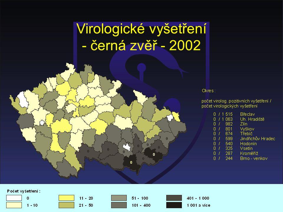 Virologické vyšetření - černá zvěř - 2002