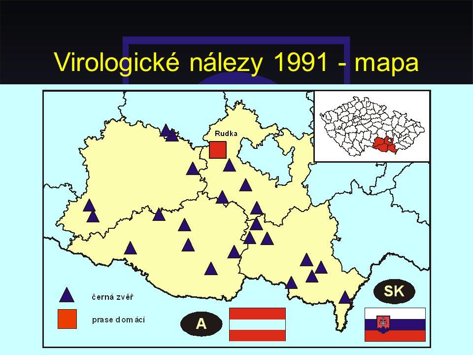 Virologické nálezy 1991 - mapa