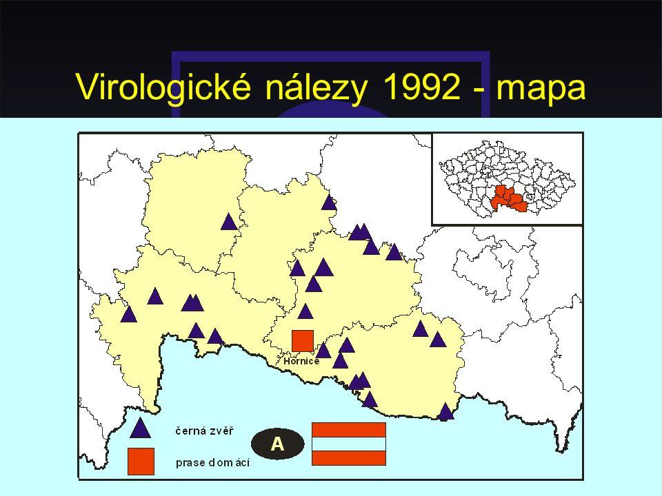Virologické nálezy 1992 - mapa