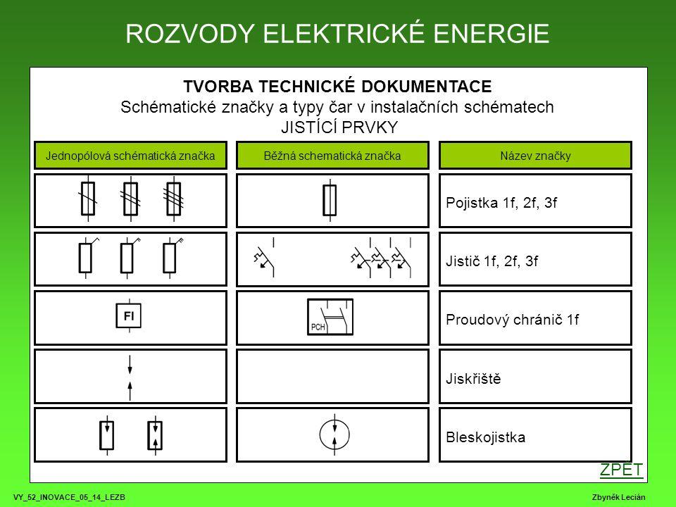 VY_52_INOVACE_05_14_LEZB Zbyněk Lecián TVORBA TECHNICKÉ DOKUMENTACE Schématické značky a typy čar v instalačních schématech JISTÍCÍ PRVKY ROZVODY ELEK