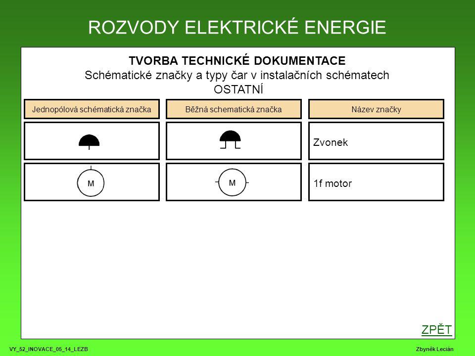 VY_52_INOVACE_05_14_LEZB Zbyněk Lecián TVORBA TECHNICKÉ DOKUMENTACE Schématické značky a typy čar v instalačních schématech OSTATNÍ ROZVODY ELEKTRICKÉ