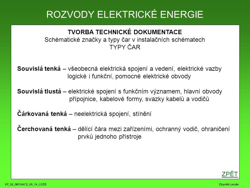 VY_52_INOVACE_05_14_LEZB Zbyněk Lecián TVORBA TECHNICKÉ DOKUMENTACE Schématické značky a typy čar v instalačních schématech TYPY ČAR ROZVODY ELEKTRICK