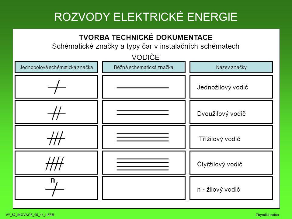 VY_52_INOVACE_05_14_LEZB Zbyněk Lecián TVORBA TECHNICKÉ DOKUMENTACE Schématické značky a typy čar v instalačních schématech TYPY ČAR ROZVODY ELEKTRICKÉ ENERGIE ZPĚT Souvislá tenká – všeobecná elektrická spojení a vedení, elektrické vazby logické i funkční, pomocné elektrické obvody Souvislá tlustá – elektrické spojení s funkčním významem, hlavní obvody přípojnice, kabelové formy, svazky kabelů a vodičů Čárkovaná tenká – neelektrická spojení, stínění Čerchovaná tenká – dělící čára mezi zařízeními, ochranný vodič, ohraničení prvků jednoho přístroje