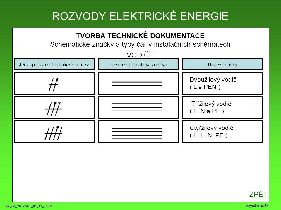 VY_52_INOVACE_05_14_LEZB Zbyněk Lecián TVORBA TECHNICKÉ DOKUMENTACE Schématické značky a typy čar v instalačních schématech ROZVODNICE, KRABICE ROZVODY ELEKTRICKÉ ENERGIE Jednopólová schématická značkaBěžná schematická značkaNázev značky Přípojková krabice Rozvaděč nebo rozvodnice Instalační, propojovací krabice ZPĚT Rozvaděč nebo rozvodnice