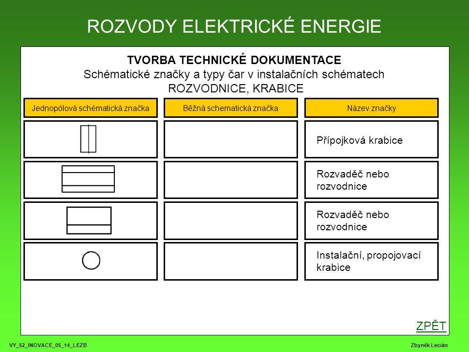 VY_52_INOVACE_05_14_LEZB Zbyněk Lecián TVORBA TECHNICKÉ DOKUMENTACE Schématické značky a typy čar v instalačních schématech SPÍNAČE ROZVODY ELEKTRICKÉ ENERGIE Jednopólová schématická značkaBěžná schematická značkaNázev značky Jednopólový spínač řazení č.