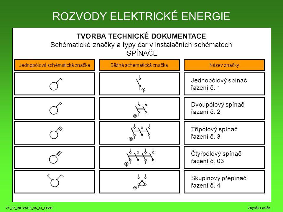 VY_52_INOVACE_05_14_LEZB Zbyněk Lecián TVORBA TECHNICKÉ DOKUMENTACE Schématické značky a typy čar v instalačních schématech SPÍNAČE ROZVODY ELEKTRICKÉ ENERGIE Jednopólová schématická značkaBěžná schematická značkaNázev značky Sériový přepínač řazení č.