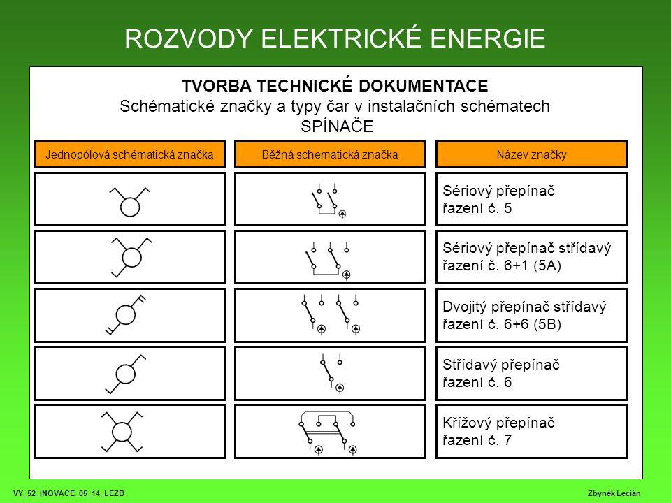 VY_52_INOVACE_05_14_LEZB Zbyněk Lecián TVORBA TECHNICKÉ DOKUMENTACE Schématické značky a typy čar v instalačních schématech SPÍNAČE ROZVODY ELEKTRICKÉ ENERGIE Jednopólová schématická značkaBěžná schematická značkaNázev značky Dvojpólový přepínač stř.