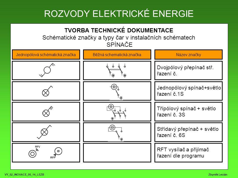 VY_52_INOVACE_05_14_LEZB Zbyněk Lecián TVORBA TECHNICKÉ DOKUMENTACE Schématické značky a typy čar v instalačních schématech SPÍNAČE ROZVODY ELEKTRICKÉ ENERGIE Jednopólová schématická značkaBěžná schematická značkaNázev značky Tlačítkový spínač řazení č.