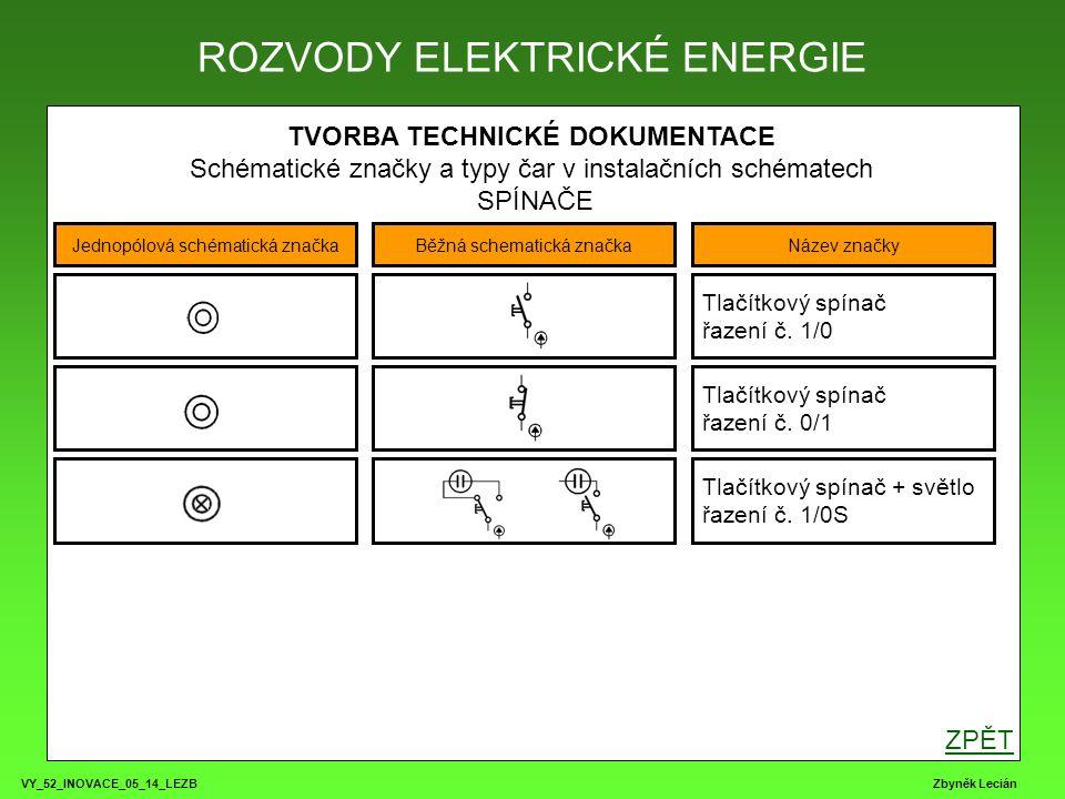 VY_52_INOVACE_05_14_LEZB Zbyněk Lecián TVORBA TECHNICKÉ DOKUMENTACE Schématické značky a typy čar v instalačních schématech SVĚTELNÉ SPOTŘEBIČE ROZVODY ELEKTRICKÉ ENERGIE Jednopólová schématická značkaBěžná schematická značkaNázev značky Žárovkové svítidlo Halogenové svítidlo / výbojka Žárovkové svítidlo s vypínačem Zářivkové svítidlo 1, 2 či více trubic ZPĚT