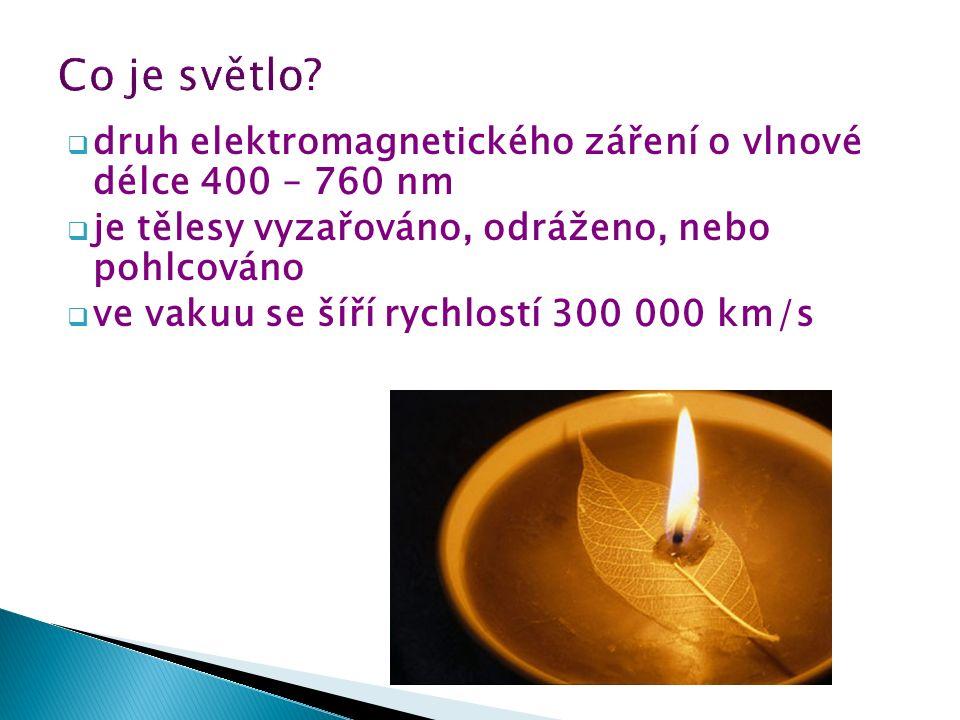  druh elektromagnetického záření o vlnové délce 400 – 760 nm  je tělesy vyzařováno, odráženo, nebo pohlcováno  ve vakuu se šíří rychlostí 300 000 k