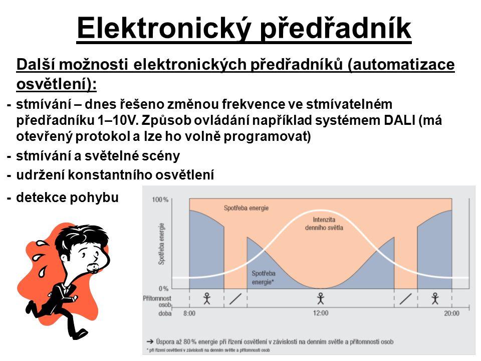 Elektronický předřadník Další možnosti elektronických předřadníků (automatizace osvětlení): -stmívání – dnes řešeno změnou frekvence ve stmívatelném předřadníku 1–10V.