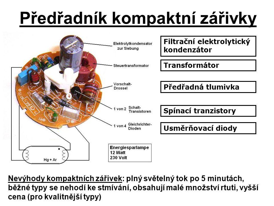Předřadník kompaktní zářivky Filtrační elektrolytický kondenzátor Transformátor Předřadná tlumivka Spínací tranzistory Usměrňovací diody Nevýhody kompaktních zářivek: plný světelný tok po 5 minutách, běžné typy se nehodí ke stmívání, obsahují malé množství rtuti, vyšší cena (pro kvalitnější typy)