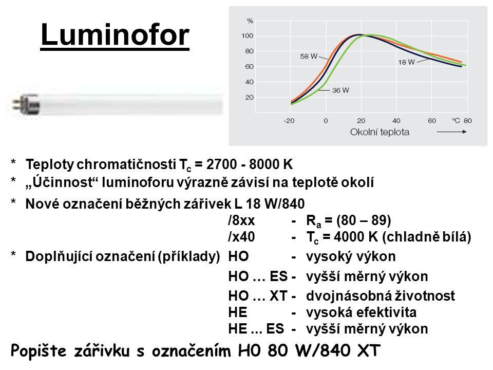 """*Teploty chromatičnosti T c = 2700 - 8000 K *""""Účinnost luminoforu výrazně závisí na teplotě okolí Luminofor *Nové označení běžných zářivek L 18 W/840 /8xx-R a = (80 – 89) /x40-T c = 4000 K (chladně bílá) *Doplňující označení (příklady)HO-vysoký výkon HO … ES-vyšší měrný výkon HO … XT-dvojnásobná životnost HE-vysoká efektivita HE..."""