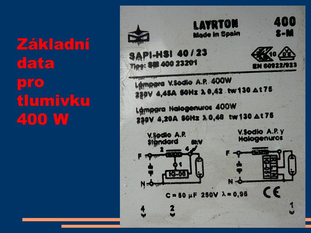Základní data pro tlumivku 400 W