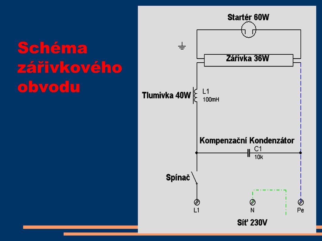 Schéma zářivkového obvodu
