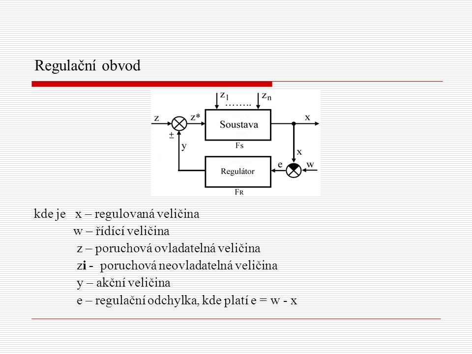 Regulační obvod kde je x – regulovaná veličina w – řídící veličina z – poruchová ovladatelná veličina zi - poruchová neovladatelná veličina y – akční veličina e – regulační odchylka, kde platí e = w - x