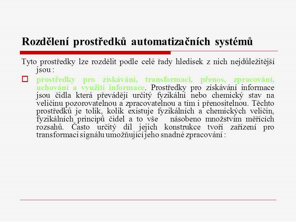 Rozdělení prostředků automatizačních systémů Tyto prostředky lze rozdělit podle celé řady hledisek z nich nejdůležitější jsou :  prostředky pro získávání, transformaci, přenos, zpracování, uchování a využití informace.