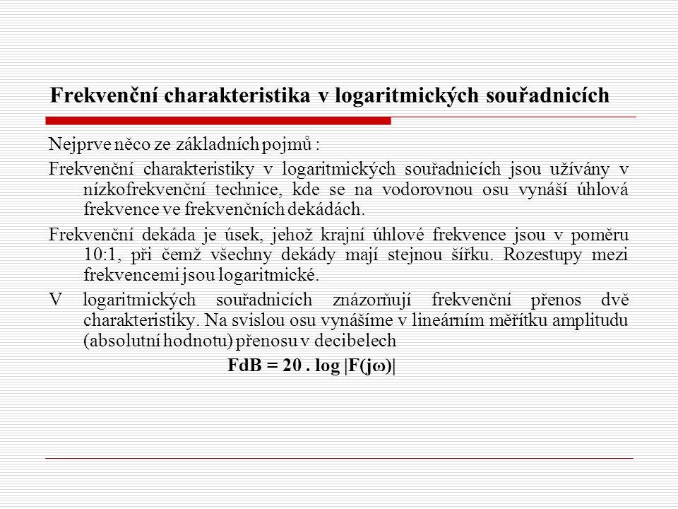 Frekvenční charakteristika v logaritmických souřadnicích Nejprve něco ze základních pojmů : Frekvenční charakteristiky v logaritmických souřadnicích j