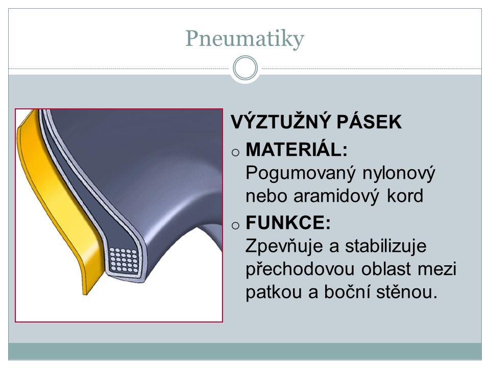 VÝZTUŽNÝ PÁSEK o MATERIÁL: Pogumovaný nylonový nebo aramidový kord o FUNKCE: Zpevňuje a stabilizuje přechodovou oblast mezi patkou a boční stěnou.