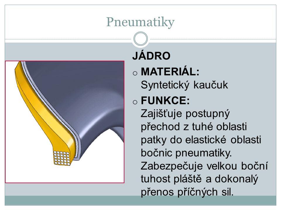 JÁDRO o MATERIÁL: Syntetický kaučuk o FUNKCE: Zajišťuje postupný přechod z tuhé oblasti patky do elastické oblasti bočnic pneumatiky.