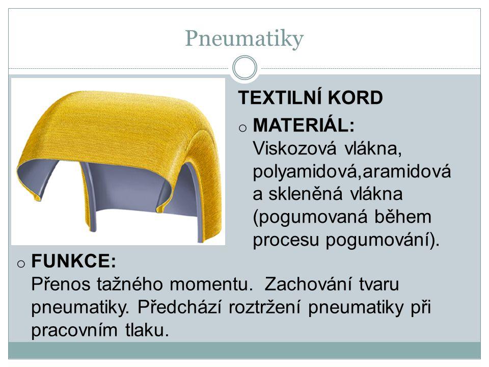 TEXTILNÍ KORD o MATERIÁL: Viskozová vlákna, polyamidová,aramidová a skleněná vlákna (pogumovaná během procesu pogumování).