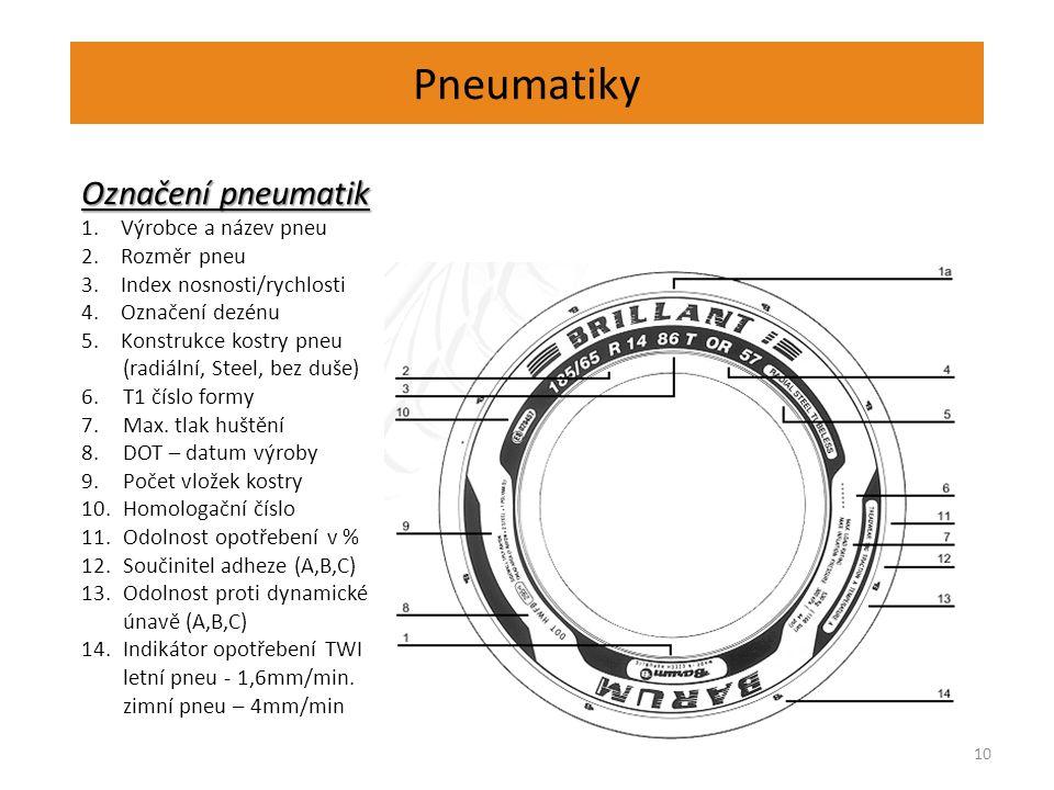 Pneumatiky 10 Označení pneumatik 1.Výrobce a název pneu 2.Rozměr pneu 3.Index nosnosti/rychlosti 4.Označení dezénu 5.Konstrukce kostry pneu (radiální, Steel, bez duše) 6.T1 číslo formy 7.Max.