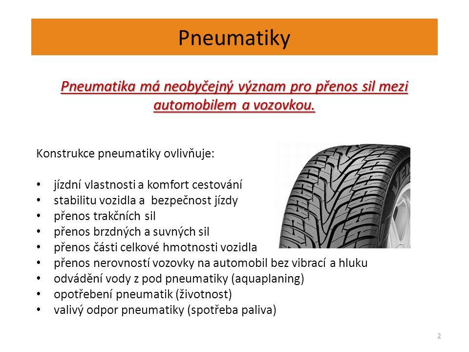 Pneumatiky 2 Pneumatika má neobyčejný význam pro přenos sil mezi automobilem a vozovkou.