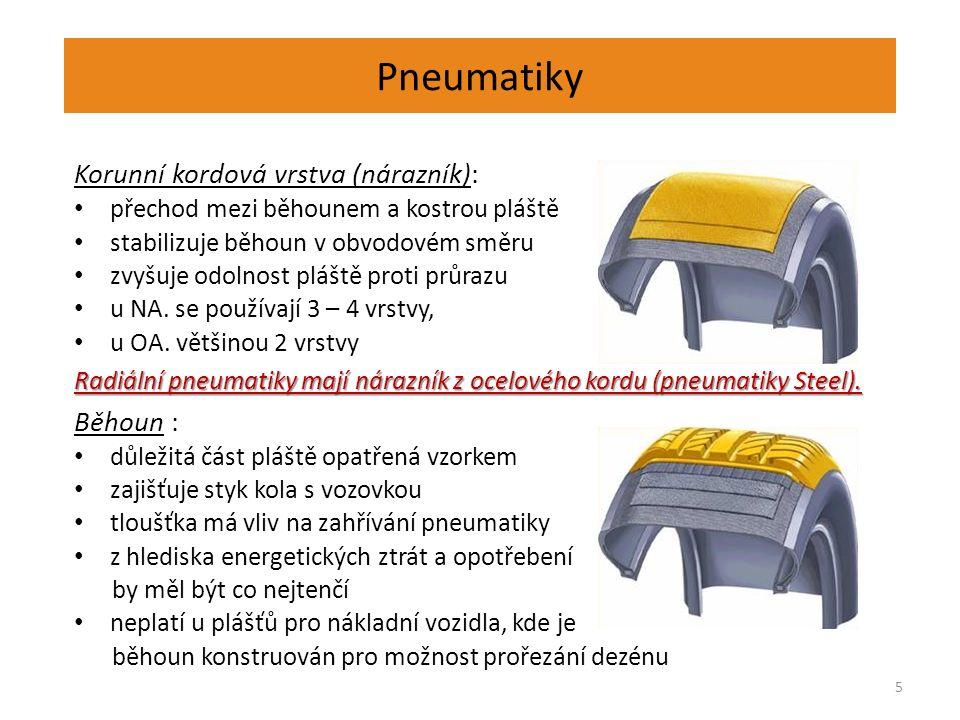 Pneumatiky 6 Radiální kordová vrstva (kostra): základní částí pláště je tvořena kordovými vložkami tyto vložky, jejich křížení v konstrukci pneu mají vliv na základní vlastnosti pláště podle systému kladení vláken, a z jakého materiálu jsou vytvořeny tkaniny rozlišujeme pneumatiky radiální a diagonální konstrukce Bočnice: zajišťuje ochranu kostry před vnějšími vlivy je vyrobena z přírodního kaučuku, aby vydržela vícečetný ohyb bočnice při jízdě po nerovnostech vozovky
