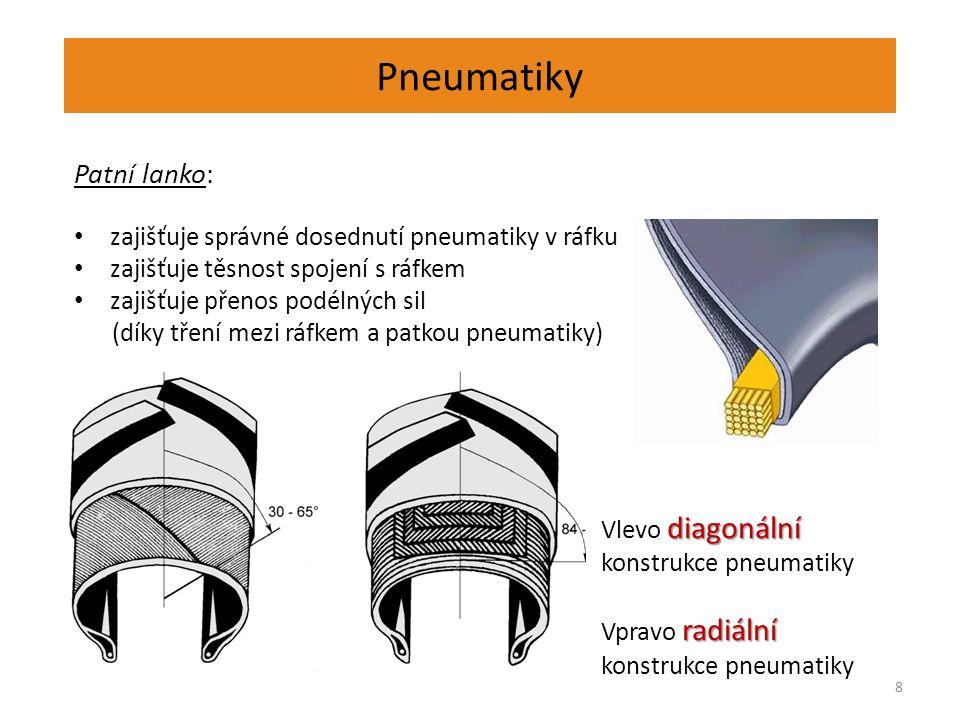 Pneumatiky 8 Patní lanko: zajišťuje správné dosednutí pneumatiky v ráfku zajišťuje těsnost spojení s ráfkem zajišťuje přenos podélných sil (díky tření mezi ráfkem a patkou pneumatiky) diagonální Vlevo diagonální konstrukce pneumatiky radiální Vpravo radiální konstrukce pneumatiky