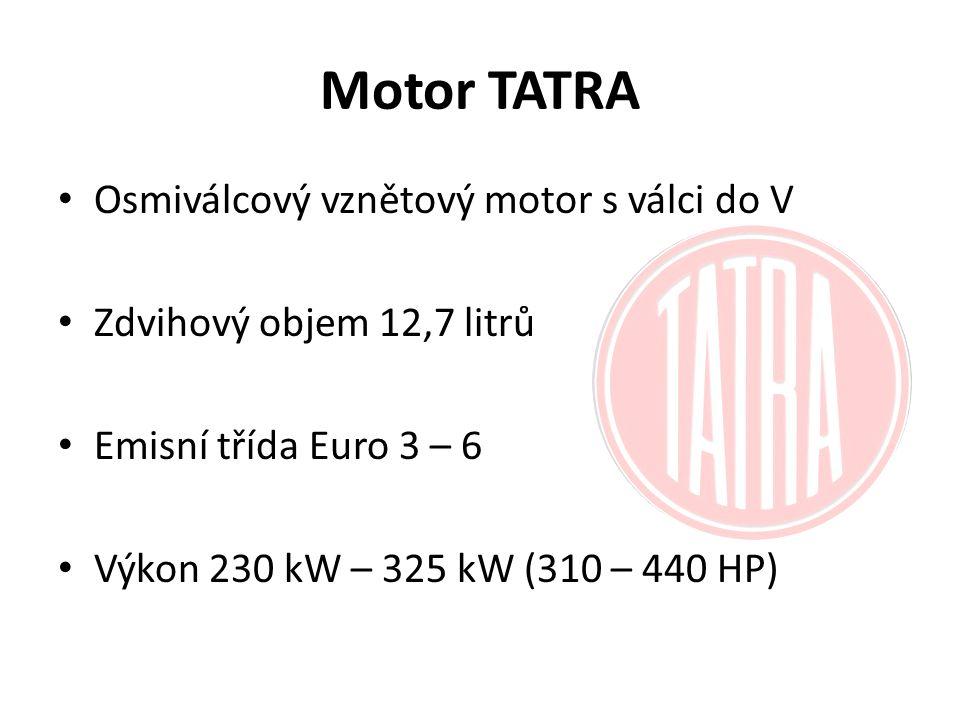 Motor TATRA Osmiválcový vznětový motor s válci do V Zdvihový objem 12,7 litrů Emisní třída Euro 3 – 6 Výkon 230 kW – 325 kW (310 – 440 HP)