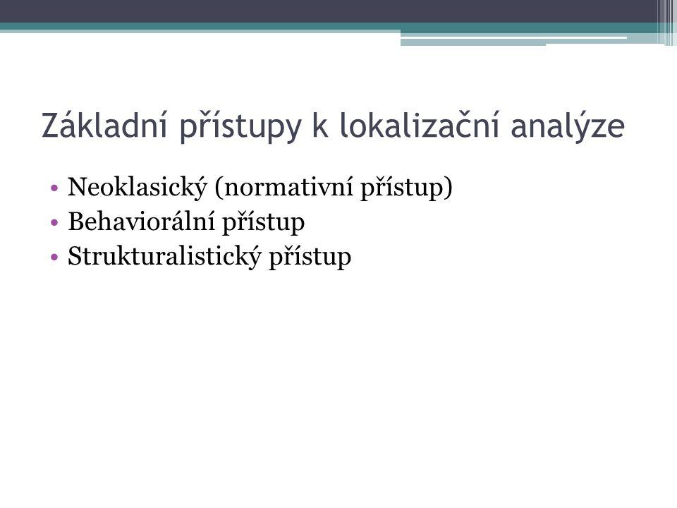 Základní přístupy k lokalizační analýze Neoklasický (normativní přístup) Behaviorální přístup Strukturalistický přístup
