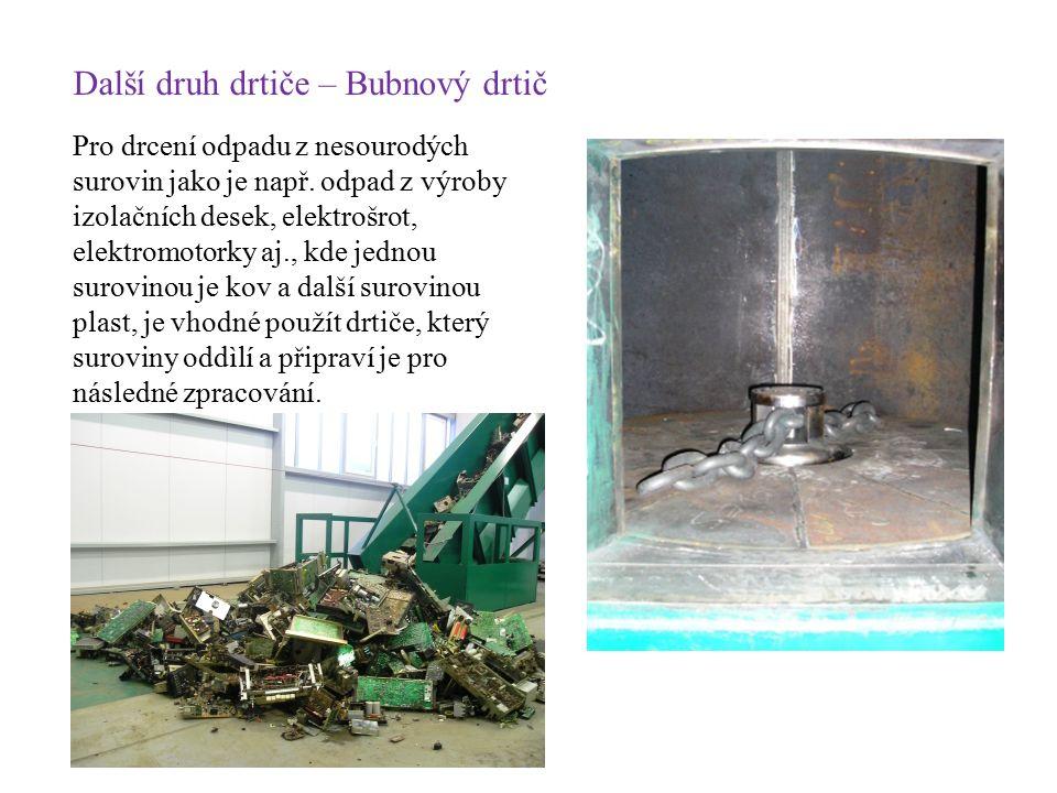 Další druh drtiče – Bubnový drtič Pro drcení odpadu z nesourodých surovin jako je např. odpad z výroby izolačních desek, elektrošrot, elektromotorky a