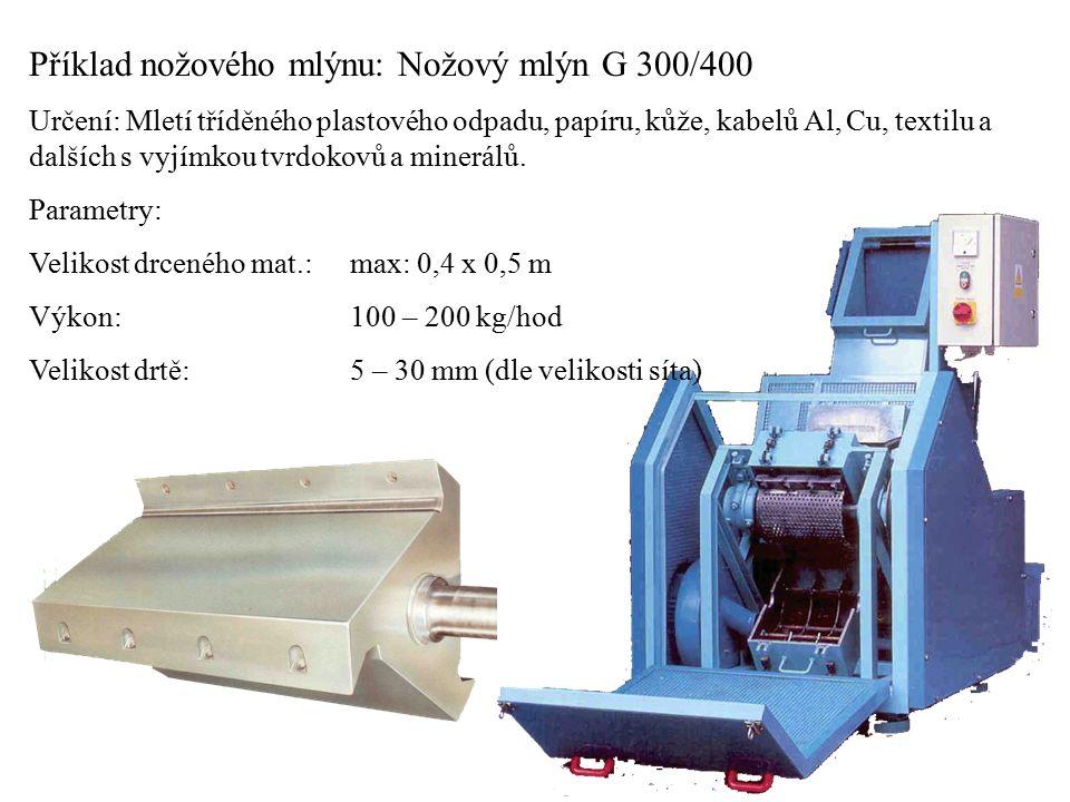 Příklad nožového mlýnu: Nožový mlýn G 300/400 Určení: Mletí tříděného plastového odpadu, papíru, kůže, kabelů Al, Cu, textilu a dalších s vyjímkou tvr