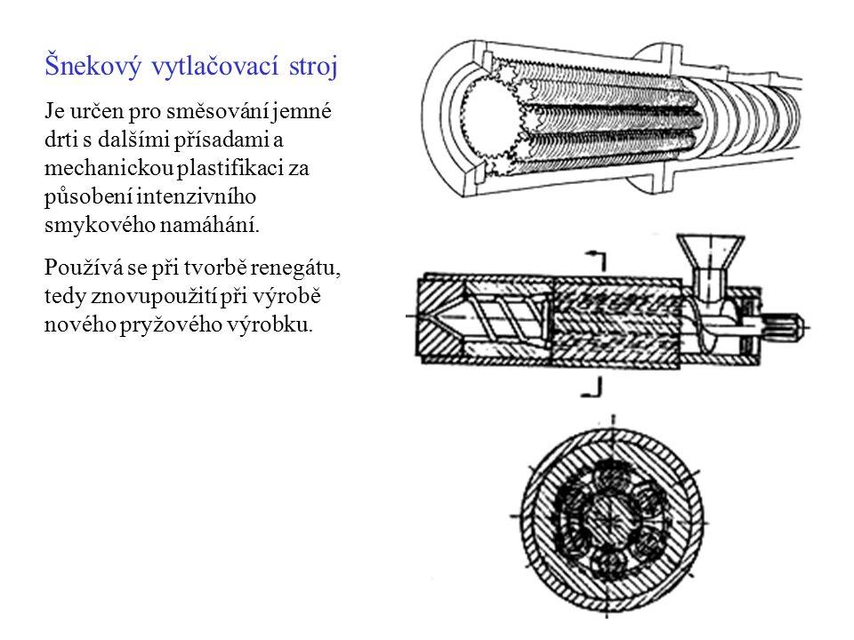 Šnekový vytlačovací stroj Je určen pro směsování jemné drti s dalšími přísadami a mechanickou plastifikaci za působení intenzivního smykového namáhání