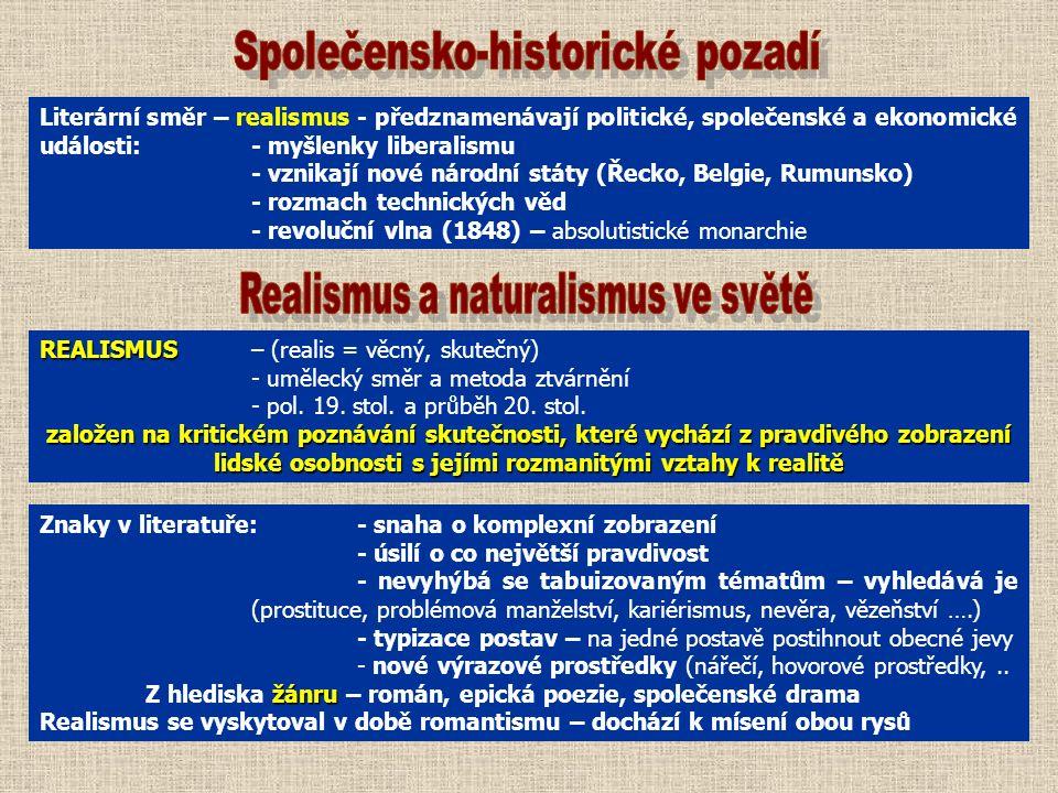 Literární směr – realismus - předznamenávají politické, společenské a ekonomické události:- myšlenky liberalismu - vznikají nové národní státy (Řecko, Belgie, Rumunsko) - rozmach technických věd - revoluční vlna (1848) – absolutistické monarchie REALISMUS REALISMUS – (realis = věcný, skutečný) - umělecký směr a metoda ztvárnění - pol.